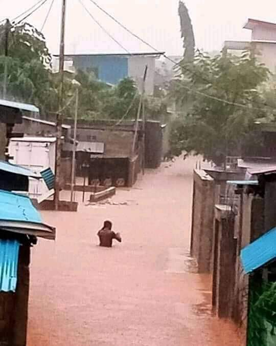 One of the streets in Dili under water